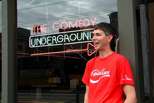 Yoram Bauman in front of Comedy Underground